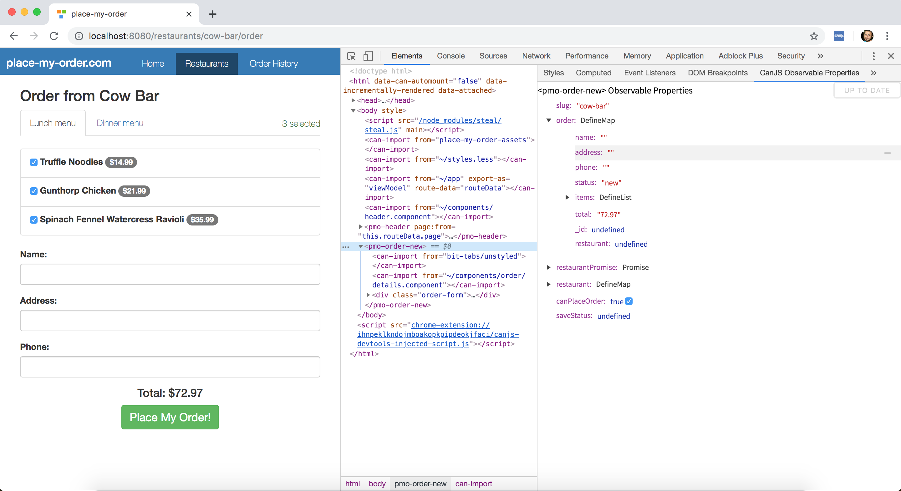 The Chrome Developer Tools Standalone Observable Properties Editor