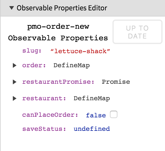 The CanJS Devtools Panel Observable Properties Editor Expanding Object